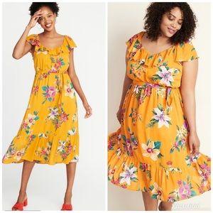 OLD NAVY Yellow Floral Midi Dress Ruffle Tie Waist